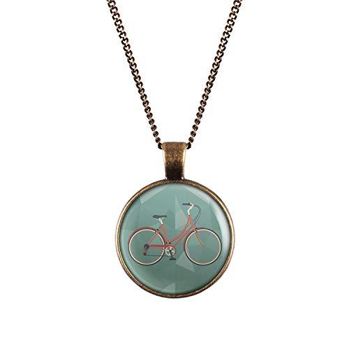 Mylery Halskette mit Motiv Damen-Rad City-Rad Stadt-Rad Rot Bronze 28mm