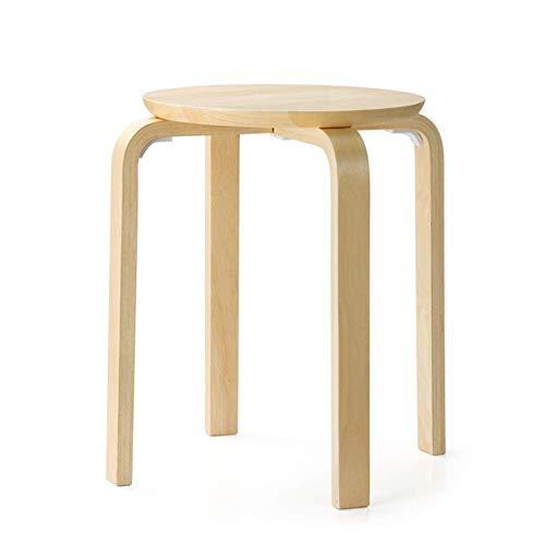 Ronde stoel, stoere stoel, kleine ronde houten tafel krukken, anti-slip kruk in gebogen hout stapelbaar voor het huis Woonkamer voor kinderen Mobiele decoraties (kleur: BROWN, Afmetingen: 33 * 44 cm) 33*44cm Wood Color