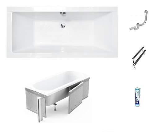 ECOLAM Badewanne Wanne Rechteck Quadro Design Acryl weiß 190x90 cm + Styroporverkleidung zum Verfliesen + Ablaufgarnitur Ab- und Überlauf Automatik Füße Silikon Komplett-Set