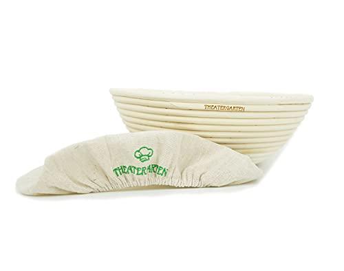 THEATERGARTEN Cesta de fermentación para masa de pan, ideal para hornear, accesorio para hornear masa, cesta de fermentación de caña natural (100% ratán), redonda, 25 cm