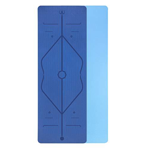 FitTrek Yogamatte Fitnessmatte rutschfest - 6mm 8mm TPE Schadstofffrei Gymnastikmatte - Turnmatte Sportmatte für Pilates Lang 183cm, Breit 61cm oder 66cm oder 80cm, mit Körperausrichtungssystem