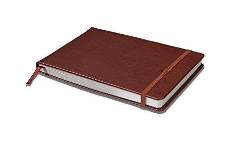 Linden Art Watercolor Journal, 140 lb (300 GSM), 64 Cold Pressed 8.5'x5.5' Pages, Watercolor and Mixed Media Travel Journal, Brown PU Leather Hard Cover