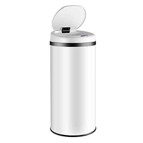 Deuba Cubo de basura automático con sensor capacidad de 40L de Acero inoxidable color Blanco pantalla LED reciclaje cocina