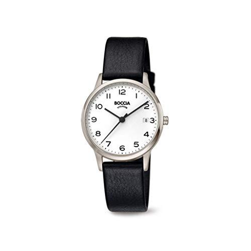 Boccia Damen Analoger Quarz Uhr mit Echtes Leder Armband 3310-01