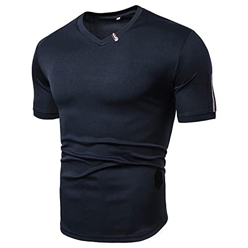 Camisa Deportiva Hombre Elástica Color Sólido con Cuello En V Camiseta Hombre Deporte Verano Que Absorbe El Aire Transpirable Manga Corta Correr Fitness Casual Hombre Tshirt C-Blue M