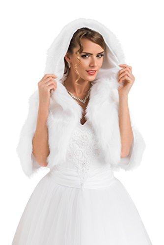 Splendido Coprispalle Nuziale Stile Bolerino da Sposa in Ecopelliccia con Cappuccio