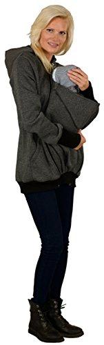 Evagreen Umstandsjacke Tragejacke 3 in 1 für Mama, Papa und Baby | Sportliche Freizeitjacke mit Babyeinsatz | Schwarz-Grau - 6