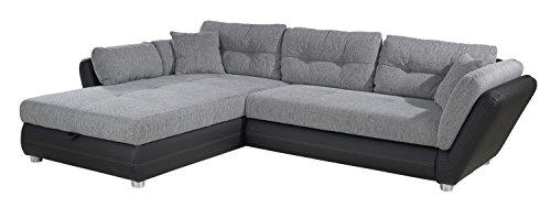 Polstergarnitur Schlafsofa Ecksofa Couch | Kunstleder Schwarz | Webstoff Grau | 297x207 cm