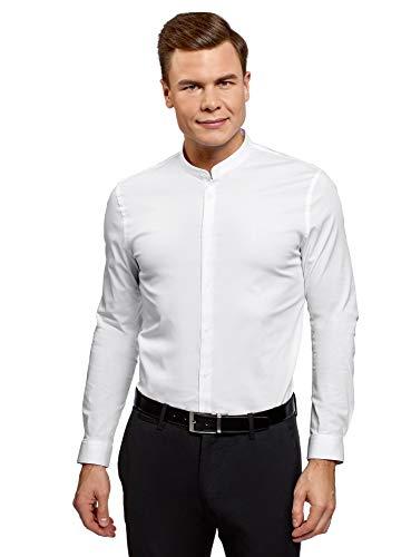 oodji Ultra Hombre Camisa Extra Slim con Cuello Mao, Blanco, 41