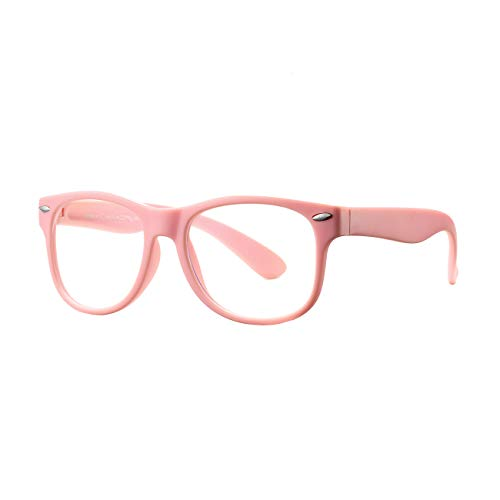 AZORB Kids Blue Light Blocking Glasses Classic TPEE Rubber Eyeglasses for Girls Boys Age 3-12 Anti Eyestrain(A1 All Pink)