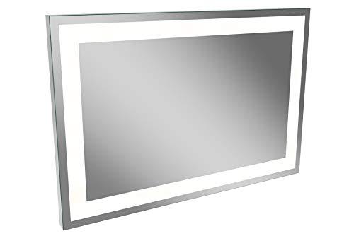 LANZET LED Spiegel P5 / Wandspiegel mit umlaufender LED-Beleuchtung / Maße (B x H x T): ca. 90 x 60 x 4 cm / LED Badspiegel / berührungslose Bedienung durch Sensor / waagrecht + senkrecht nutzbar