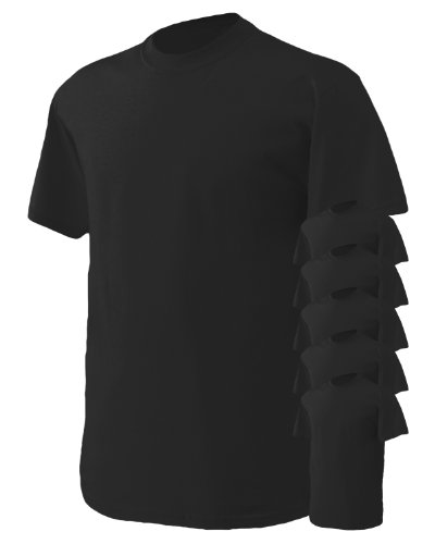 Gildan Men's Heavy Cotton T-Shirt, Black, Medium. (Pack of 6)
