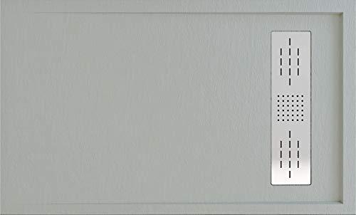 Plato DE Ducha Resina Textura Pizarra Enmarcado Carga Mineral Y Gel Coats (Gris Cemento, 100 X 70)