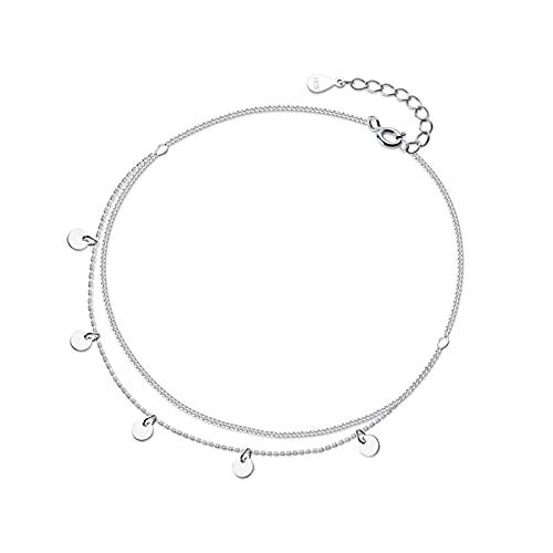 HZYXGS Tobilleras de Cadena de oblea Redonda de Doble Capa de Plata de Ley 925 a la Moda para Mujer, joyería, Regalo del Día de San Valentín