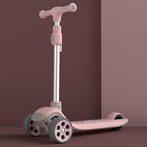 CQILONG-Scooter De Una Sola Pierna para Niños Protección Ambiental PP Scooter Plegable De Cinco Velocidades Ajustable Que Destella Scooter Resbaladizo De Tres Ruedas,