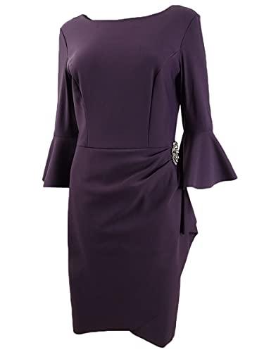 Alex Evenings Women's Slimming Short Dress Sleeves (Petite and Regular), Aubergine Bell, 16 (Apparel)