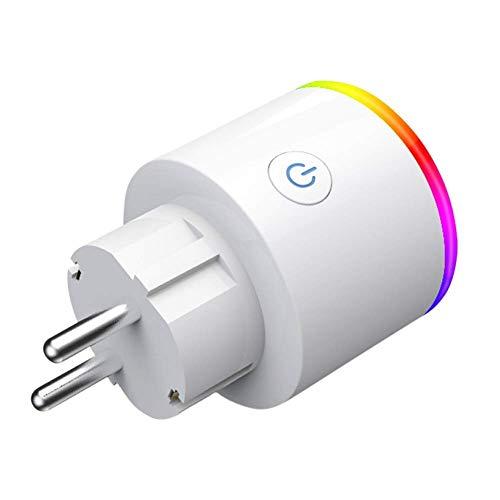 Enchufa Wifi Smart - EMC Group   con LED RGB y Control Consumo Eléctrico   Compatible...