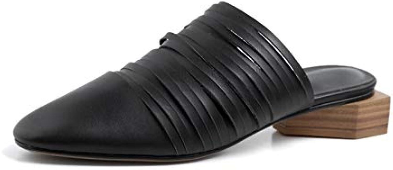 MENGLTX High Heels Sandalen 2019 Neue Echtes Leder Sandalen Frauen Freizeit Platz Niedrigen Ferse Sommer Schuhe Frau Ausschnitte Damen Gladiator Sandalen