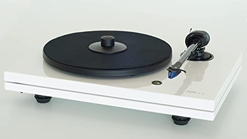 Music Hall MMF-5.3 Series Audiophile Turntable with Pre Mounted Ortofon 2M Blue Cartridge and Premium Carbon Fiber Tonearm (High-Gloss White)