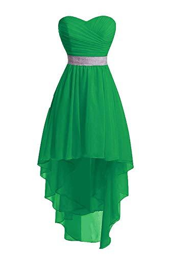 JAEDEN Ballkleider Damen Brautjungfernkleid Hochzeit Partykleid Herzausschnitt Abendkleid Vorne Kurz Hinten Lang Grün EUR42