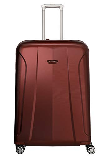 travelite 4-Rad Koffer Größe L mit TSA Schloss, Gepäck Serie ELBE: Widerstandsfähiger Hartschalen Trolley, 075549-10, 77 cm, 106 Liter, rot