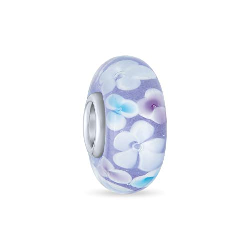 Vetro di Murano .925 Sterling Silver Core Floreale Azzurro Bianco Fiore Distanziale Fascino Perline Si adatta braccialetto europeo per donna teen