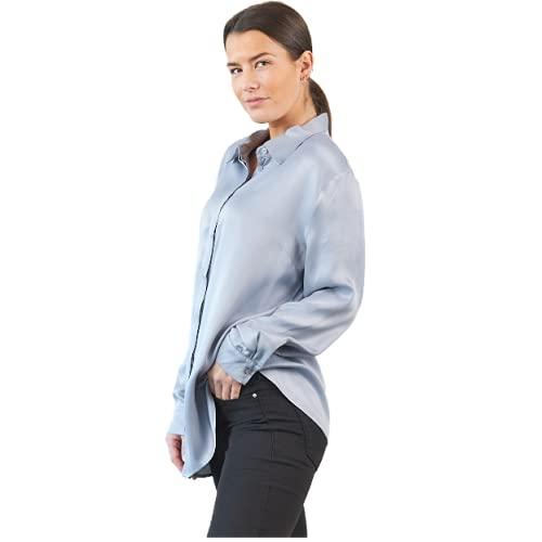 Concpt  103 - Blusa de satén de manga larga para mujer, elegante, para el tiempo libre, informal, camiseta holgada, blusa de verano, blusa básica para el día a día azul 48