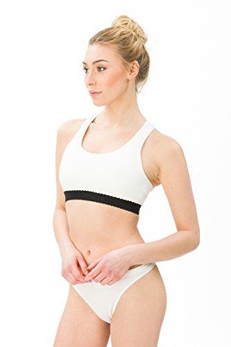 super.natural Damen Sport-BH mit gekreuzten Trägern, Mit Merinowolle, W TARA BRA 220, Größe: XL, Farbe: Weiß