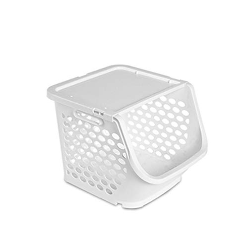 SMEJS Thickened Multifunctional Household Storage Basket, Kitchen Plastic Square Lattice Box, Stackable Fruit and Vegetable Basket Storage Rack (Color : A)
