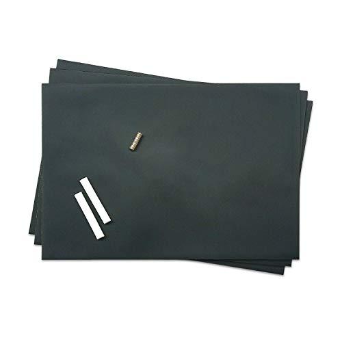 easydruck24de Magnethaftende Tafel-Folie im 3er Set I Kreide und Magnete I DIN A4 I Wand-Tafel beschreibbar zuschneidbar Rückseite selbstklebend schwarz I mag_216