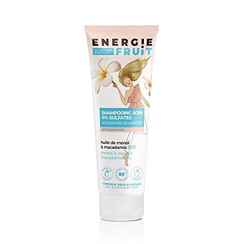ENERGIE FRUIT   Shampoing sans Sulfate   Monoï & Macadamia BIO   Cheveux Secs Abimés   Vegan   250 ml