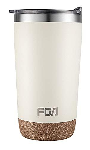 FGA Thermobecher Kaffeebecher to go Edelstahl Travel Mug 500ml Isolierbecher BPA-frei Reisebecher für heiße und kalte Getränke Elfenbein