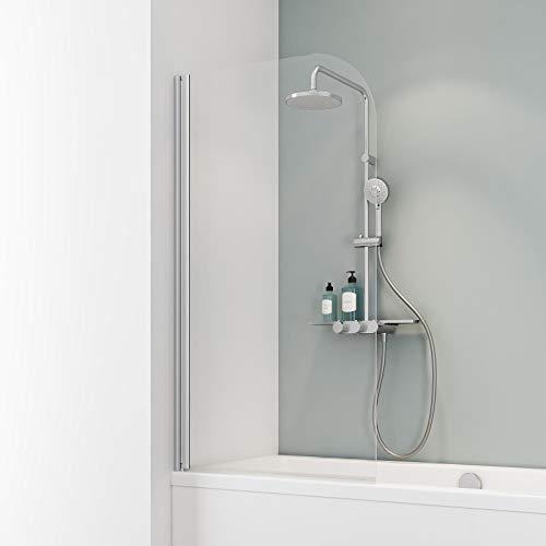 Schulte Duschwand Komfort zum Kleben, kein Bohren in Fliese notwendig, 80 x 140 cm, 5 mm Sicherheitsglas klar hell, alunatur, Duschabtrennung für Badewanne