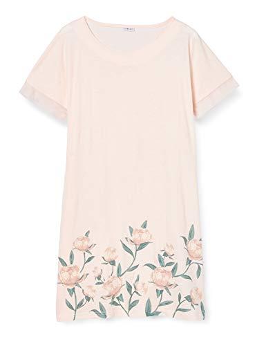 LOVABLE Flower Print Camicia da Notte, Stampa Fiori, S Donna