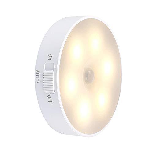PANYUE Luz Nocturna LED de 2 Piezas Ahorro de Energía Sensor de Movimiento Recargable USB Luz Nocturna LED Blanca Cálida para Dormitorio Cocina Escaleras Armario Pasillo