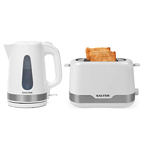 Salter COMBO-4748 Deco Collection 1.7 L Kettle & 2 Slice Toaster, White