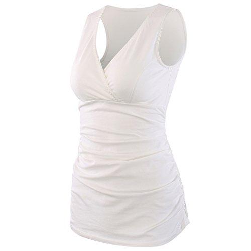 ZUMIY Camiseta Premamá, Mujer Top de Maternidad y de Lactancia (M, White)