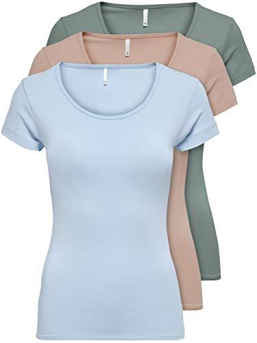 ONLY 3er Pack Damen T-Shirt schwarz oder weiß Kurzarm lang Basic Sommer T-Shirts XS S M L XL 15209153 (Farb Mix 3, L)