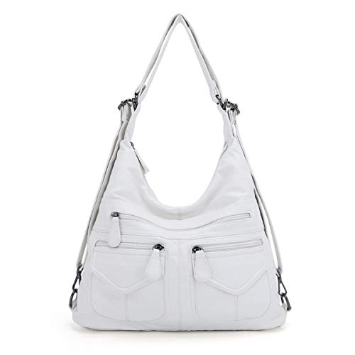 Angel Kiss Elimpaul Handbag for Women Hobo Crossbody Bag Casual Hadfield Satchel (White)