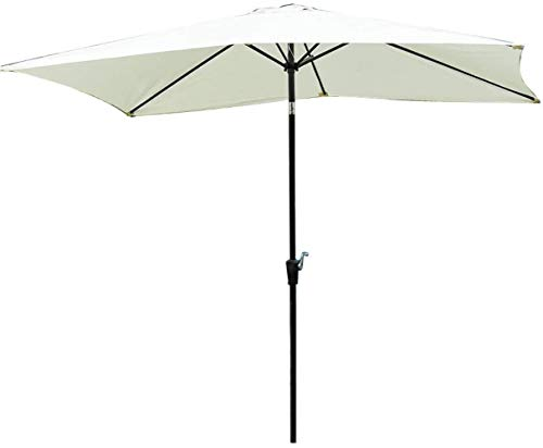 Garden Parasol Sombrilla, Paraguas 3 * 2 M Square Garden Patio Sombrilla Parasol Paraguas con manivela (Color : Light Beige)