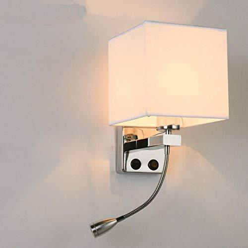 Moderne LED wandlamp slaapkamer wandlamp met schakelaar voor bed hoofd thuis J_No_USB_Cool_White (5500-7000
