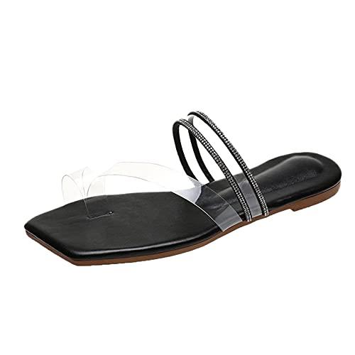 Scarpe col Tacco Donna Moda Sandali con Zeppa Plateau Wedge High Heels (43D-Black,36)