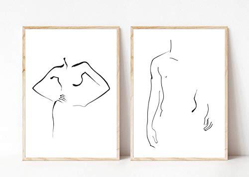 Din A4 Kunstdruck ungerahmt 2-teilig - Körper Silhouette Frau Mann - Abstrakt Minimalistisch Zeichnung schwarz weiß Moderne Kunst Druck Poster Bild