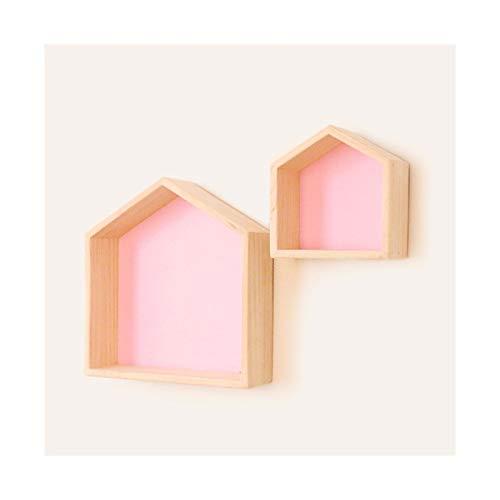 LLSS Géométrie De Étagère Suspendue en Bois Massif, Support De Rangement Mural for Porte Derrière Vie Écran Chambre Chambre 1110 (Color : Pink)