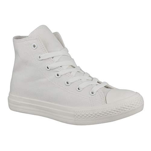 Elara Unisex Sneaker Sportschuhe High Top Turnschuh Textil 3600-01 Allwhite-41