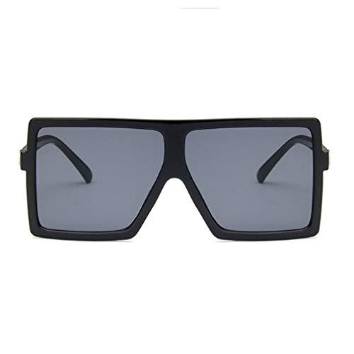 WEQQ Gafas de Sol de protección UV400 Gafas de Cara pequeña Gafas de Sol de Aviador polarizadas (Negro-Gris)