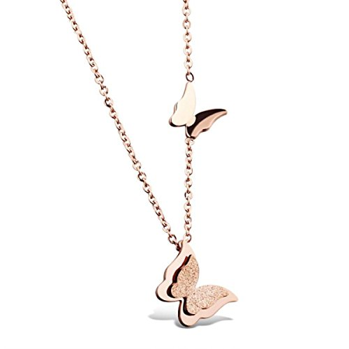 HooAMI Women's Rose Gold Stainless Steel Cute Butterfly Necklace (Necklace)