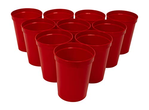 CSBD Stadium 16 oz. Plastic Cups, 10 Pack, Blank Reusable Drink Tumblers for Parties, Events, Marketing, Weddings, DIY Projects or BBQ Picnics, No BPA (Red)