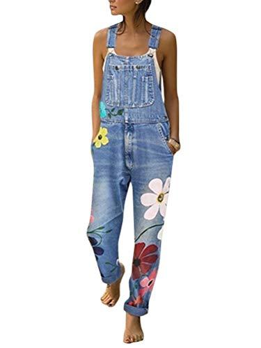 Tomwell Jeanslatzhose Damen Latzhose Jeans Hose Vintage Loose fit Jumpsuit Overall Blumen Denim Playsuit Romper (40, Blau)