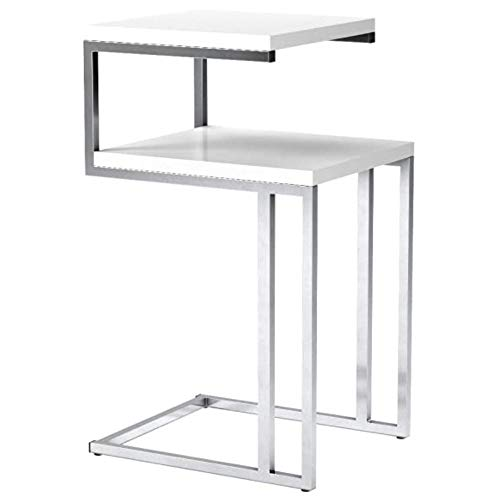 SoSo-BanTian1989 White Finish Chrome Chair Side End Snack Table